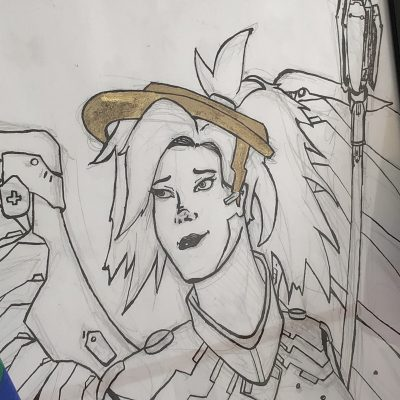 mercy inked sketch original art detail