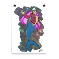 Mermaid Rocket Girl Art Print